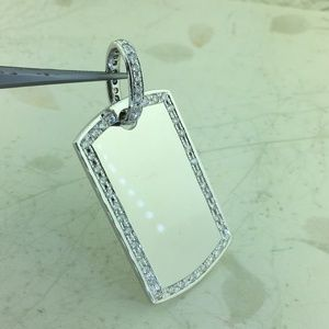 Other - 14k Solid Heavy White Gold Diamond Dog Tag Pendant